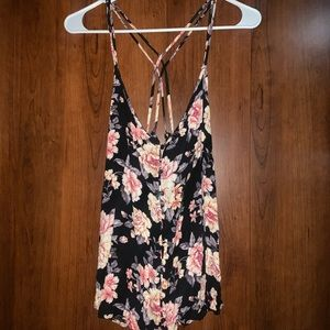 Black Floral American Eagle Tank